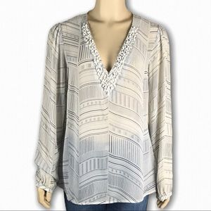 Silk Sheer White Patterned Top w Neckline Beading